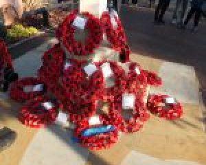 Remembrance Sunday at War Memorial outside Harold Wood Library