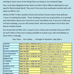 Havering Safer Neighbourhood Team numbers